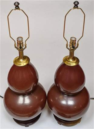 Pair of Asian-Style Double Gourd Table Lamps
