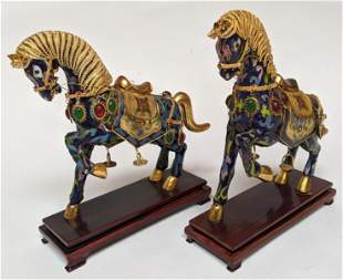 Pair of Chinese Enamel Horses