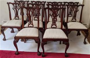 Set of 10 Chippendale-Style Side Chairs