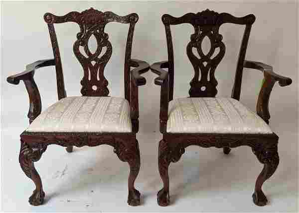 Pair Chippendale-Style Mahogany Arm Chairs