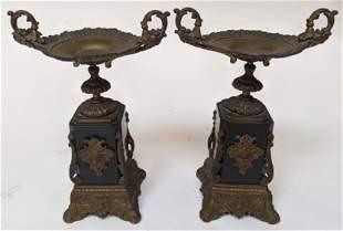 Pair Victorian Black Marble Garniture Tazzas