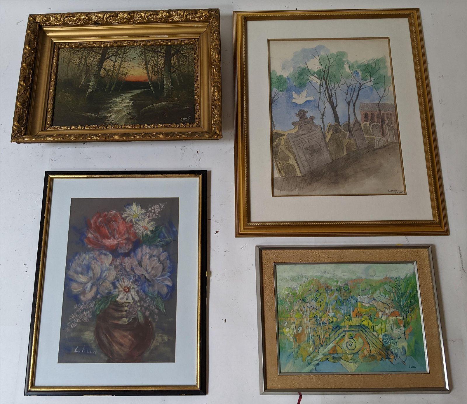 Four Original Framed Landscape Artworks