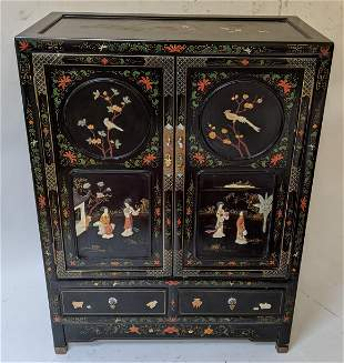 Chinese Black Lacquer Two-Door Cabinet
