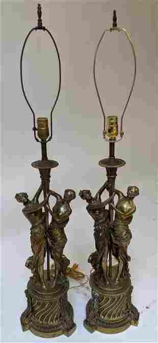 Pair of Bronze Adoring Woman Lamps