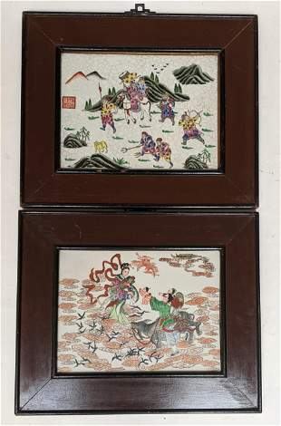 Pair Framed Chinese Porcelain Plaques