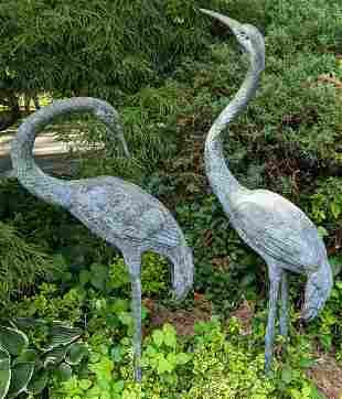 Pair Bronze Cranes
