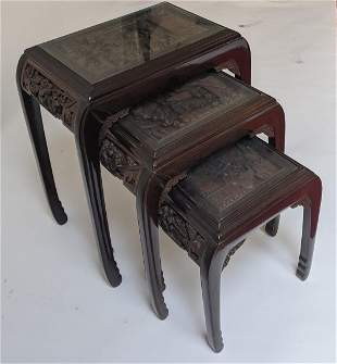 Chinese Carved Stacking Tables