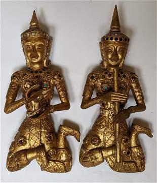 Pair of Tibetan Carved Wood Wall Hangings