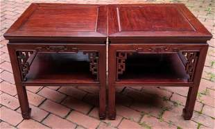 Pair of Vintage Chinese Carved Side Tables