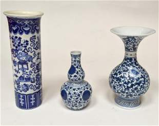 Three Blue & White Chinese Vases
