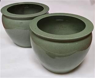 Pair Asian Celadon Planters