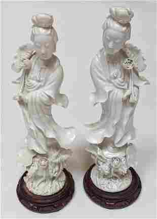 Pair of Blanc de Chine Porcelain Statues
