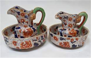 Two Sets of Mason Ironstone Bowl and Pitcher