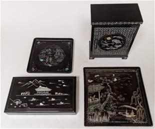 4 Black Lacquer & M-O-P Trays & Boxes