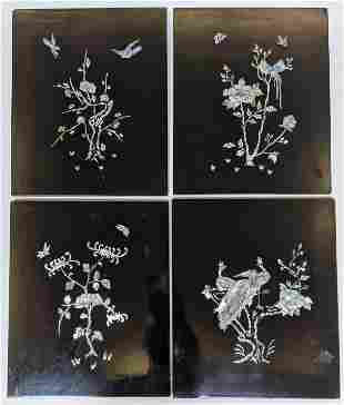 4 Chinese Black Lacquer & M-O-P Wall Hangings