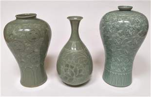 Three Chinese Celadon Vases