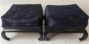Pair Chinese Black Lacquered Ottomans