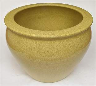 Yellow Crackle Porcelain Planter