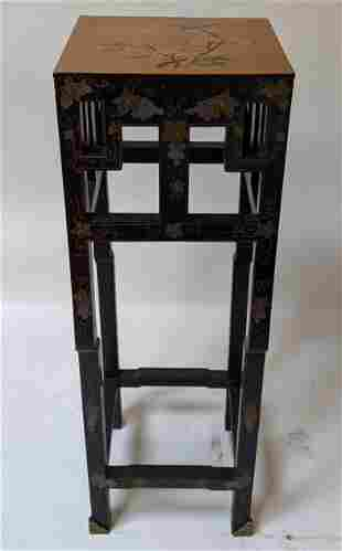 Chinese Black Lacquer Floral Painted Stand