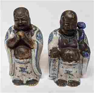 Pair Antique Asian Buddhas