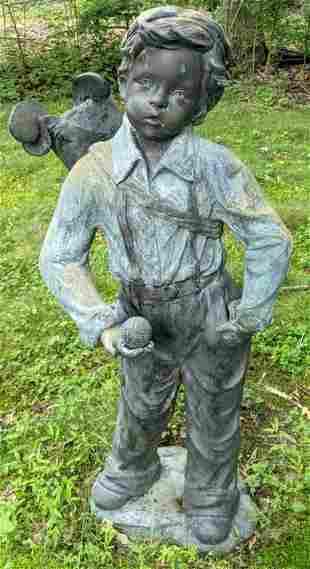 Bronze Outdoor Sculpture of Young Golfer