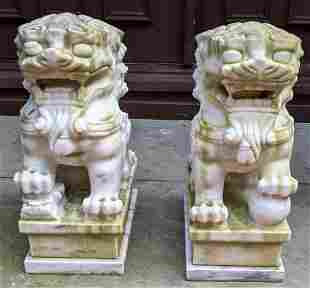 Pair Chinese White Marble Foo Dogs