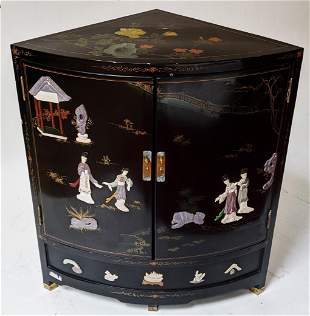 Chinese Lacquered Hardstone Corner Cabinet