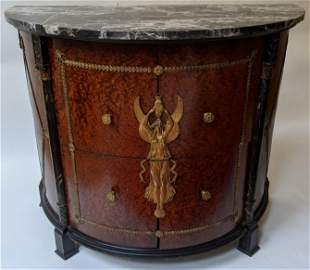 Marble Top Empire-Style Demilune Commode
