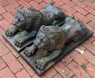 Pair Bronze Clad Outdoor Lions