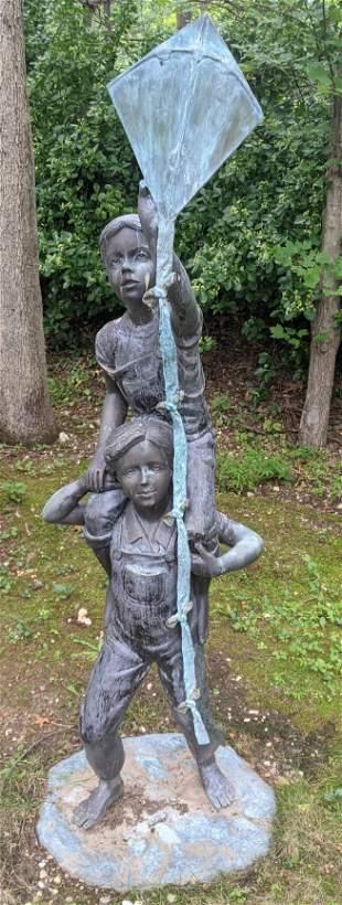 Bronze Outdoor Statue of Girl on Boy's Shoulders