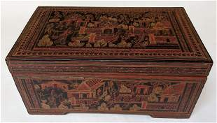 Chinese Red Lacquer Scenic Box