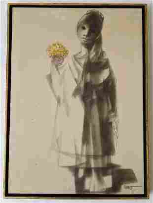 CHAMIZO: Girl with Flowers - Oil Painting