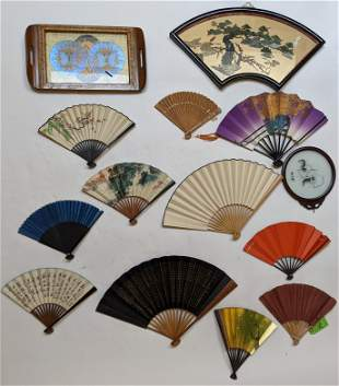 Lot of Chinese Fans and Trays