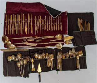 171 Pcs. Brass and Bamboo Flatware