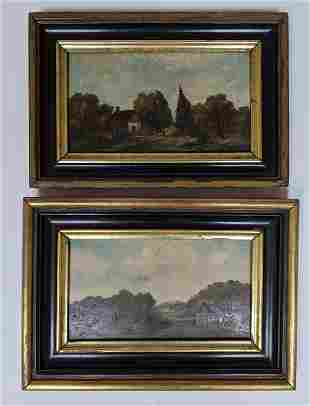 Pair of Antique Oil Paintings of Cottage Scenes
