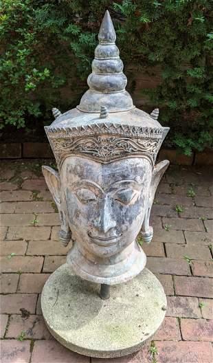 Monumental Outdoor Southeast Asian Bronze Bust