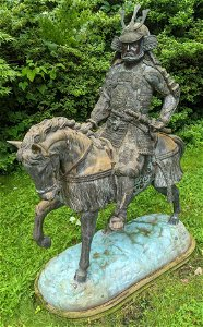 Monumental Outdoor Asian Bronze Warrior on Horse