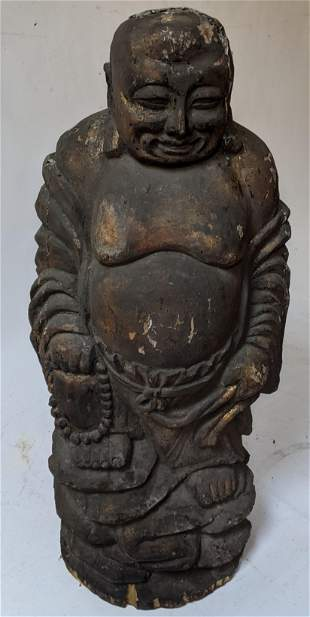 Antique Chinese Carved Wood Standing Buddha Figure