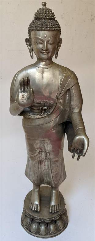 Southeast Asian Metal Standing Buddha