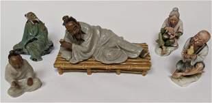 Lot of 5 Vintage Asian Mudd Figures