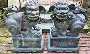 Pair Monumental Outdoor Bronze Foo Dogs