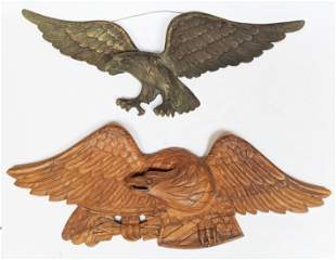 Two Carved Eagle Figures