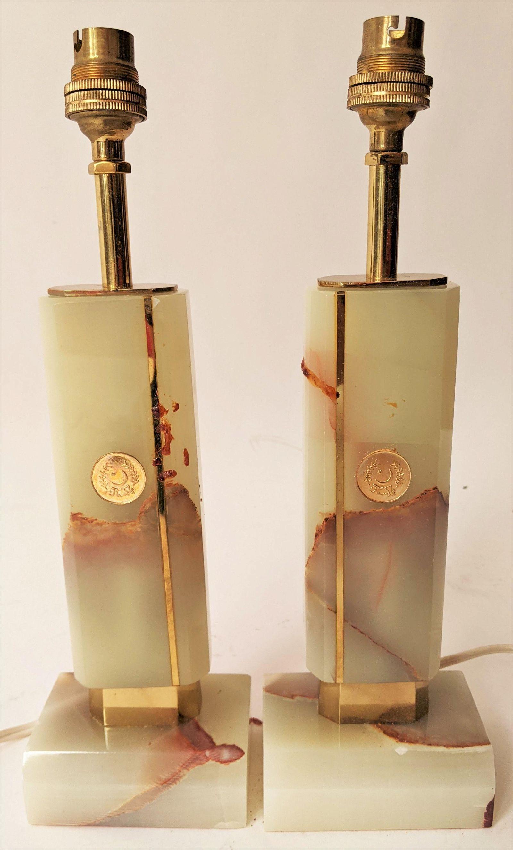 Pair Art Deco-Style Bronze & Onyx Lamps