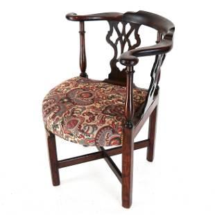 English George III Mahogany Corner Chair