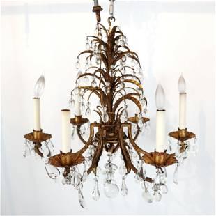Gilt Metal and Crystal 6-Light Chandelier