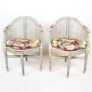 Pair of Baker Louis XVI-Style Corner Chairs