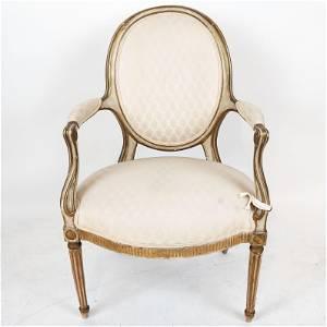 Late 18th C. George III Parcel Gilt Arm Chair