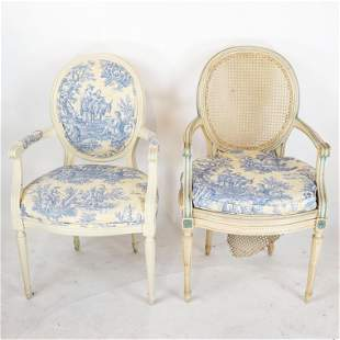 Two Louis XVI-Style Open Arm Chairs