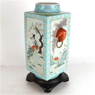 Chinese Square Vase on Stand