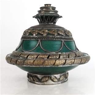 Tibetan Silver Clad Ceramic Covered Bowl